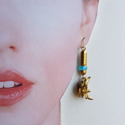 Rhino Skulls - handmade earrings (pair) - Triangle of Bears