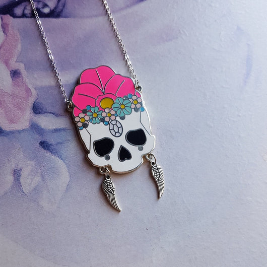 Floral Skull (FEATHERS) - hard enamel necklace - Triangle of Bears