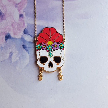 RED FLORAL SKULL Hard Enamel Necklace - Triangle of Bears