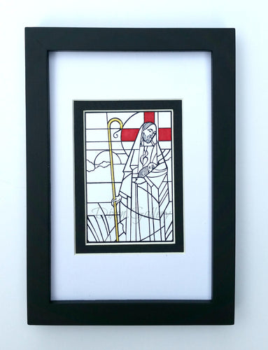 Good Shepherd - minature print, framed