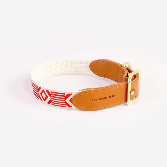 Out Of My Box Cream & Vermillon Collar with Cognac Leather