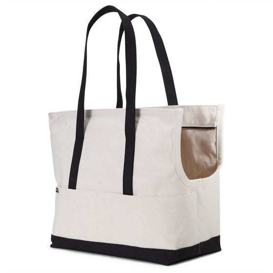 Canvas Pet Tote - Natural & Black