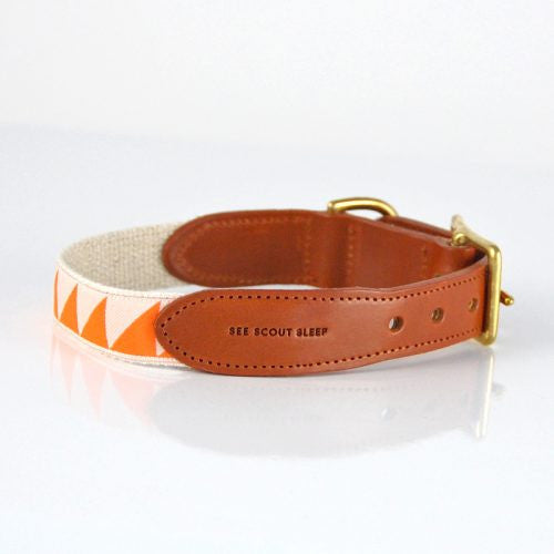Nice Grill Tangerine & Cream Collar with Cognac Leather