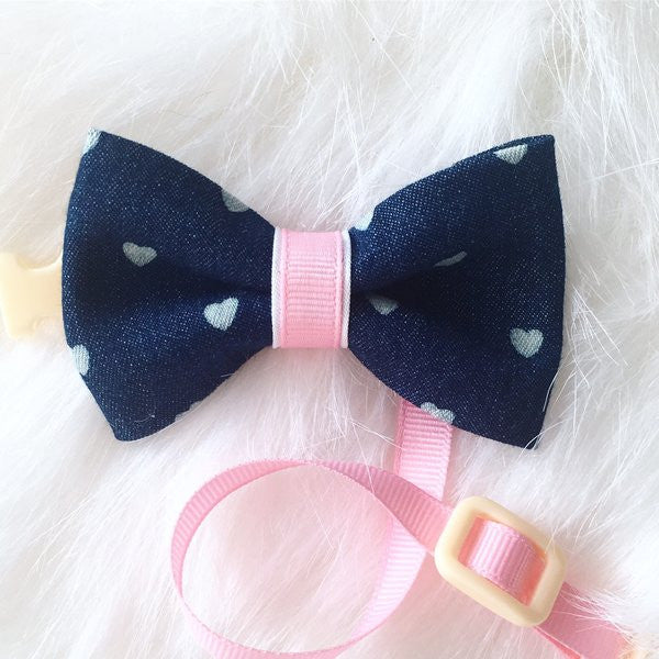 Denim Hearts Bow Tie
