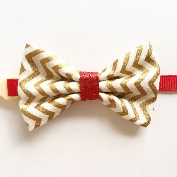 Golden Chevron Bow Tie