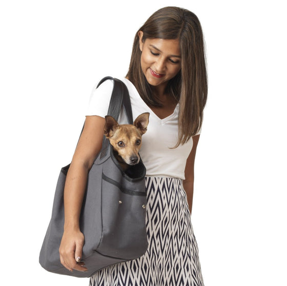 Canvas & Shearling Lined Pet Tote - Dark Grey