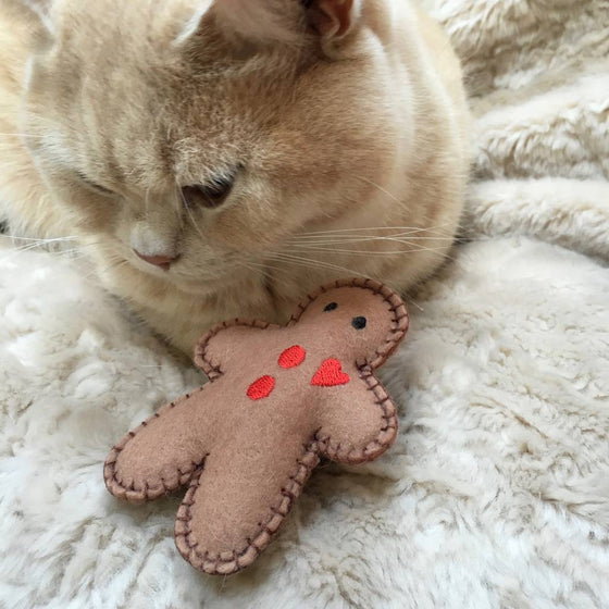 Christmas Gingerbread Man Catnip Toy