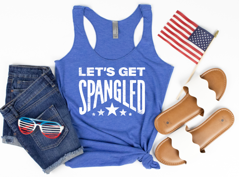 **STEAL** - SPANGLED - ROYAL RACERBACK TANK