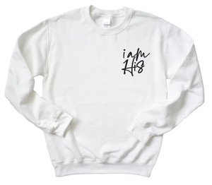 YOUTH - I AM HIS- COMFORT COLORS SWEATSHIRT (WHITE)