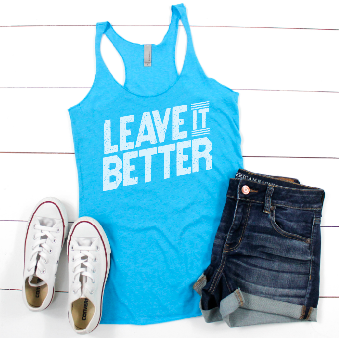 LEAVE IT BETTER - BONDI BLUE RACERBACK TANK