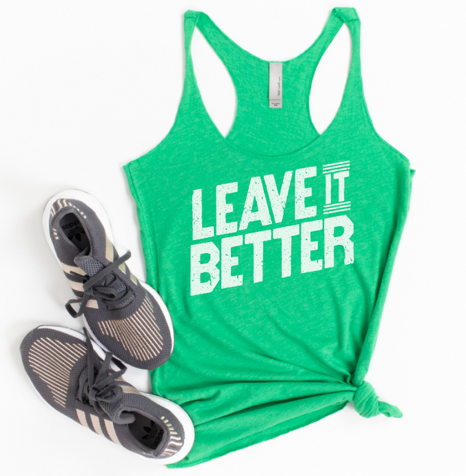 LEAVE IT BETTER - ENVY GREEN RACERBACK TANK