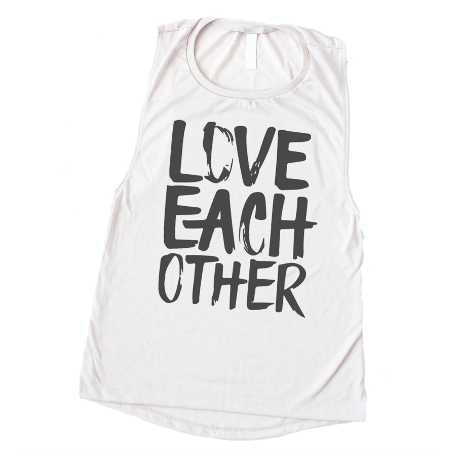 LOVE EACH OTHER - WOMEN'S WHITE MUSCLE TANK
