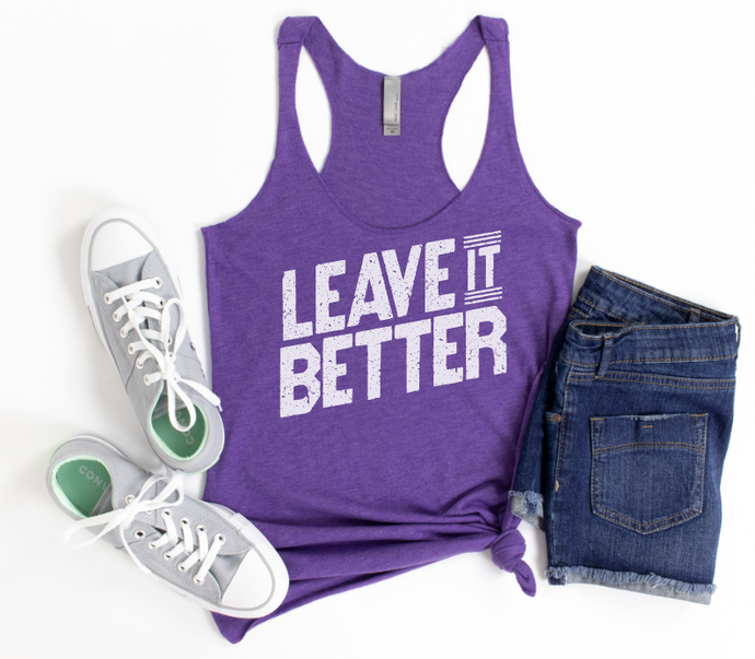 LEAVE IT BETTER - PURPLE RUSH RACERBACK TANK