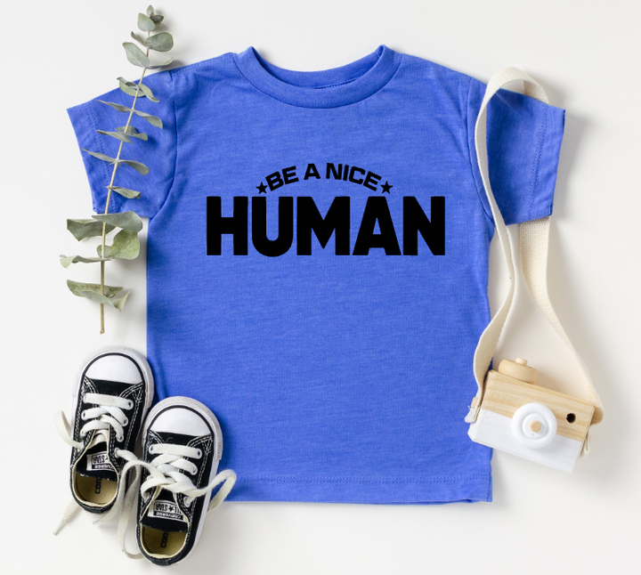TODDLER/YOUTH - BE A NICE HUMAN BOLD (BLUE)