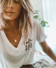 I AM HIS - SLOUCHY VNECK (WHITE)