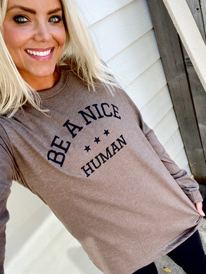 BANH - UNISEX LONG SLEEVE TEE - HEATHER BROWN