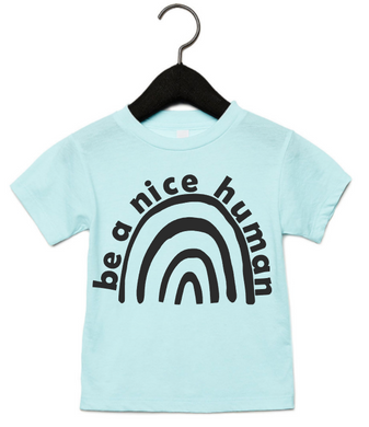 BE A NICE HUMAN RAINBOW (TODDLER/YOUTH) ICE BLUE