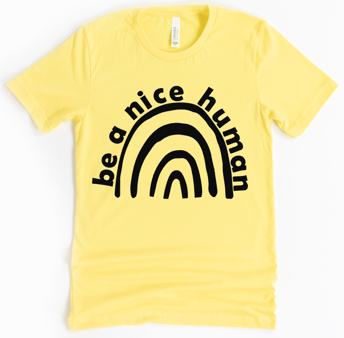 YOUTH - BE A NICE HUMAN RAINBOW - UNISEX TEE - YELLOW