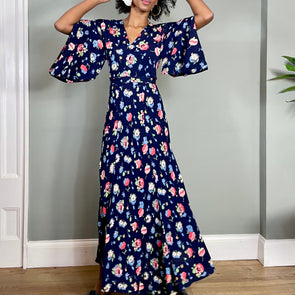 Blair, floral 30s silk bias cut dress