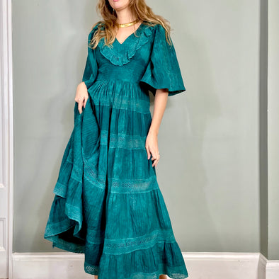 Kali, Deep emerald green Mexican vintage dress
