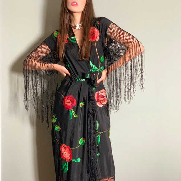 Sasha Black floral knotted dress