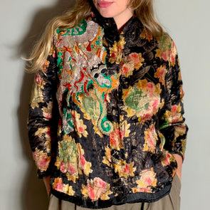 Parissa, 30s lamée jacket with dragon embroidery