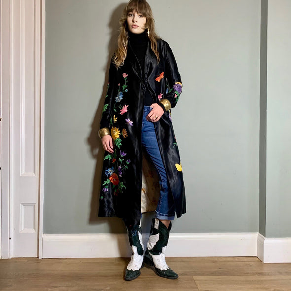 Claudia, black floral embroidered coat
