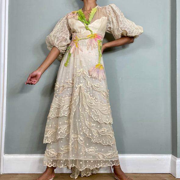 Apoline, lace and floralreworked dress