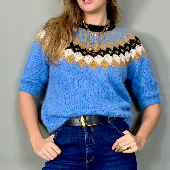 Carla, vintage blue mohair sweater