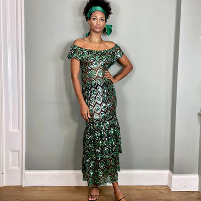 Monika, green and silver sequins tiered dress