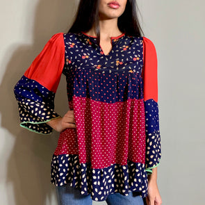 Fragola 70s mixed print top