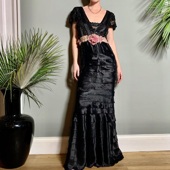 Bisoux Black 30s tiered gown