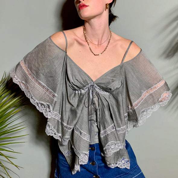 Busy Butterfly sleeve top