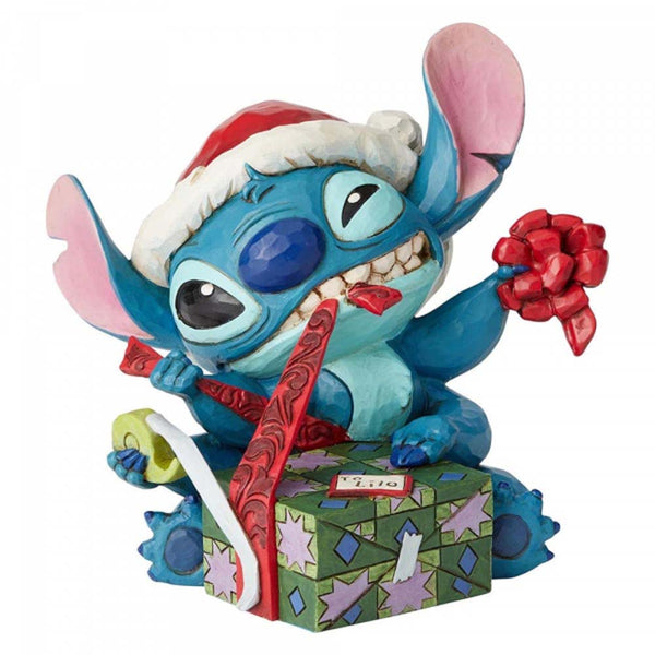 Disney Traditions Bad Wrap (Stitch with Santa Hat Figurine)