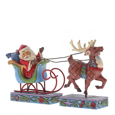 Jim Shore Christmas Santa In Sleigh with Reindeer (Set of 2)