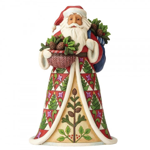 Jim Shore Pining For Christmas (Santa with Pinecone Basket) Figurine 30cm