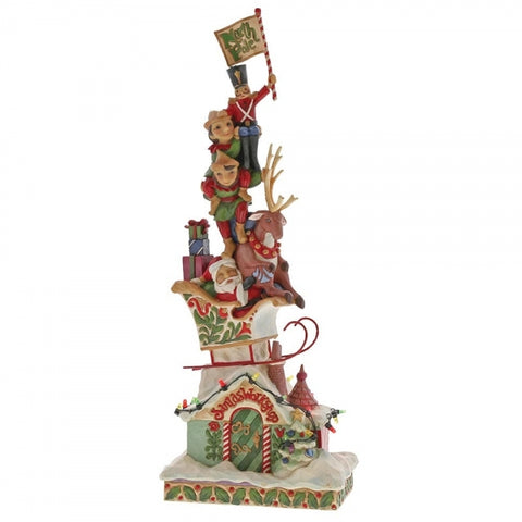 Jim Shore Christmas Heaped With Holiday Cheer (Lighted Stacked Santa) 36cm