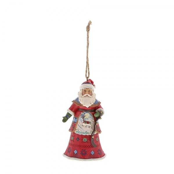 Jim Shore Christmas Lapland Santa With Bells Hanging Ornament