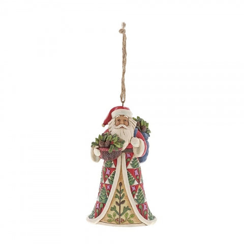 Jim Shore Christmas Pinecone Santa Hanging Ornament