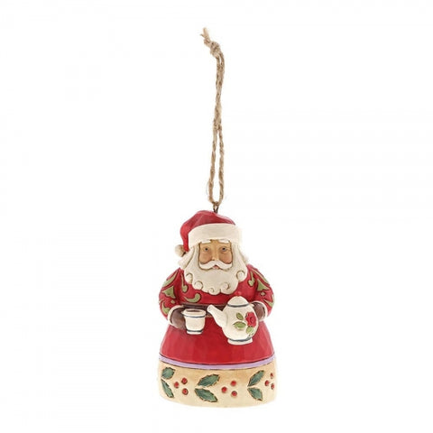 Jim Shore Christmas Mini Santa With Teapot Hanging Ornament