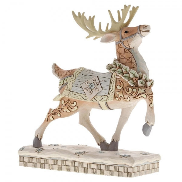 Jim Shore Christmas Dashing To Deliver (White Woodland Reindeer Prance)