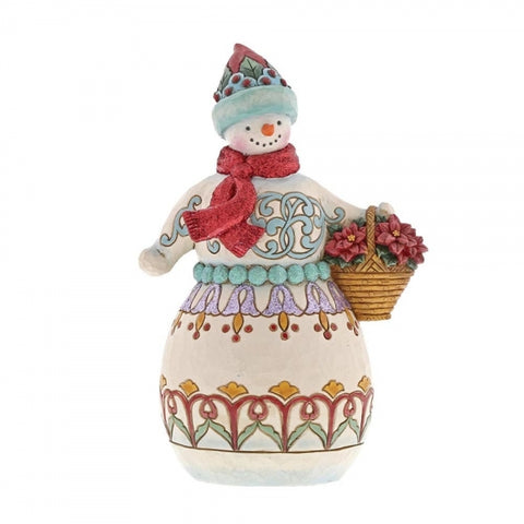 Jim Shore Christmas Deliver Cheer (Winter Wonderland Snowman with Basket) 21cm