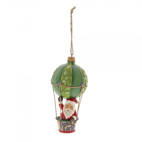 Christmas Santa In Hot Air Balloon Hanging Ornament