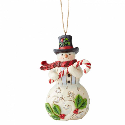 Heartwood Creek by Jim Shore SNOWMAN W/CANDY CANE ORNAMENT 6004312