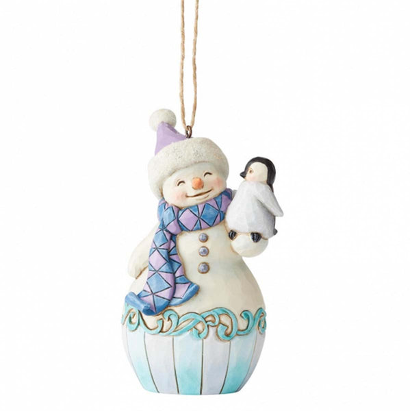 Heartwood Creek by Jim Shore SNOWMAN W/BABY PENGUIN ORNMNT 6004314