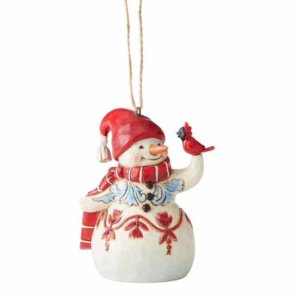 Heartwood Creek by Jim Shore MINI RED WHTIE SNWMAN ORNAMENT 6004315