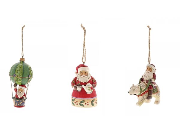 Jim Shore Father Christmas Hanging Ornament Set of 3 (Individually Boxed)
