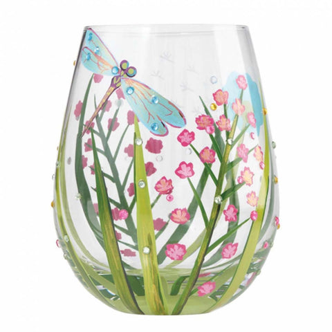 Lolita Stemless Dragonfly Wine Glass New Boxed