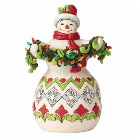 Heartwood Creek by Jim Shore SNOWMAN WITH STRING OF LIGHTS  6002642