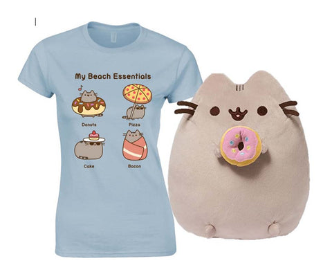 Pusheen Donut Plush with Pusheen My Beach Essential T Shirt Small New With Tags
